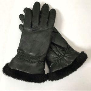 leather gloves faux fur trim